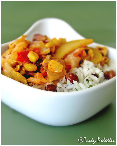 Mixed Vegetables with Coconut-Chickpea Rice