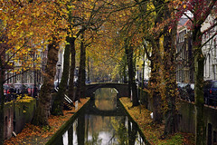 Autumn in the City (buteijn) Tags: city autumn holland fall leaves reflections utrecht herfst nederland centrum grachten nieuwegracht abigfave
