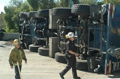 Crane overturned on 5 Freeway in Mission Hills. © Photo by Mike Meadows. Click to view more...