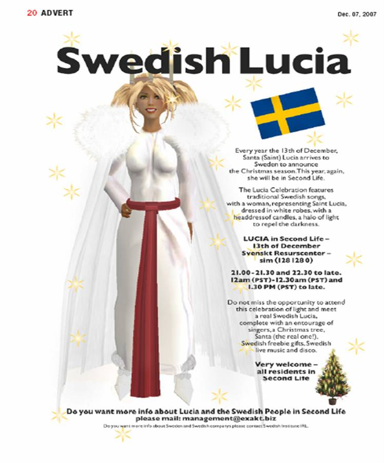 Second Life Swedish Lucia