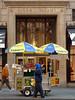 New York Merchants (Jim Lambert) Tags: nyc newyorkcity blue usa ny newyork yellow architecture buildings us unitedstates manhattan 5thavenue pedestrians fifthavenue saksfifthavenue saks sidewalks 5thave sidewalksofnewyork sabrett streetvendors pushcarts sakscompany sidewalkvendors pushcartvendors hotdogvendors 02032008 february32008 saksandco