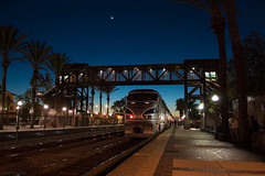 Crescent Moon over Fullerton (K-Szok-Photography) Tags: california moon night train outdoors nightimages nightshot fullerton lunar intothedarkness aphotographersnature
