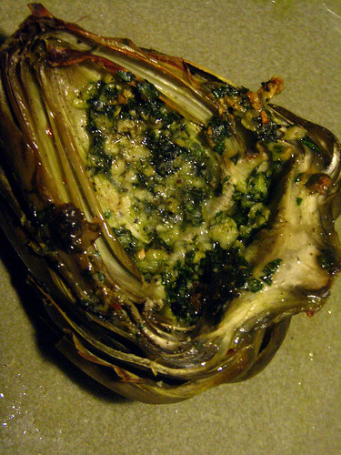 Artichoke stuffed with parsley, garlic and parmigiano
