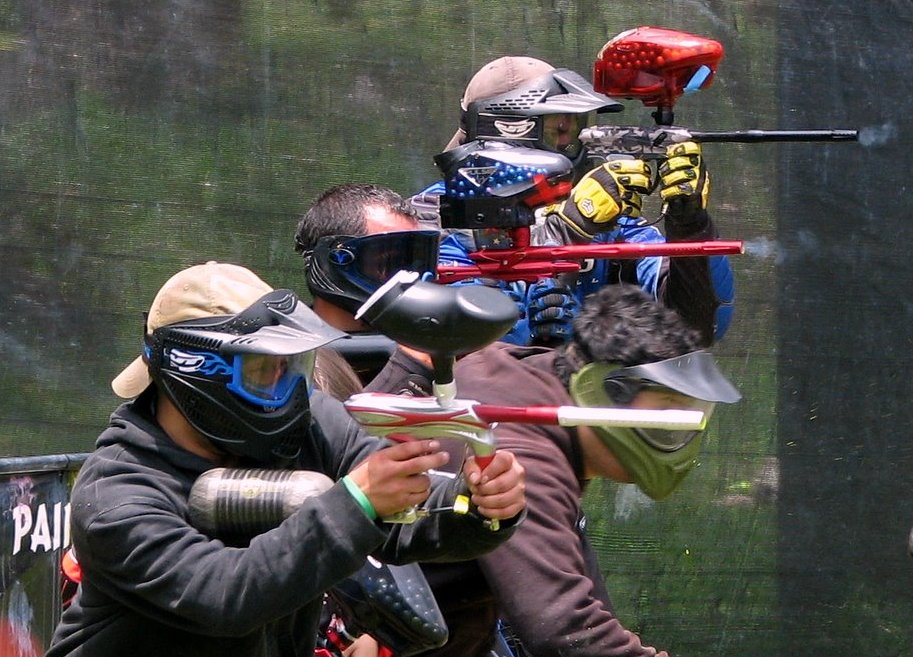cool paintball picture of a 4 person paintball team breaking out want    Cool Paintball Pictures