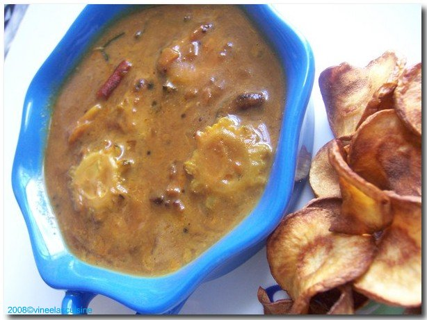 bittergourd kozhambu with parsnip chips