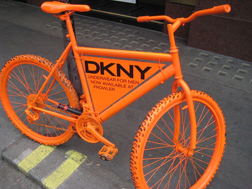 DKNY orange bicycle in London