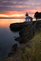 Twilight at Lime Kiln Lighthouse (KPieper) Tags: sunset lighthouse water clouds landscape twilight rocks lime washingtonstate kiln sanjuanisland varind limekilnstatepark kevinpieper kpieper pieperphotographynet