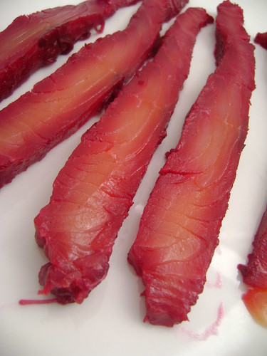 Salmon cured in Beetroot and Vodka