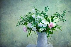 Midsummer Blooms (photoart33) Tags: summer midsummer flowers jug stilllife roses lupins borage canterburybells gardenflowers textured