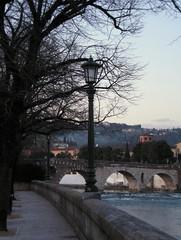 ponte pietra - verona (chpaola) Tags: bridge pink blue sunset sky italy brown black tree water lamp river grey verona oldcity adige veneto urbanfragment pontepietra bej abigfave lungadige absolutelystunningscapes