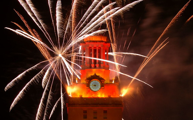 The University of Texas Tower at Graduation with Fireworks - III