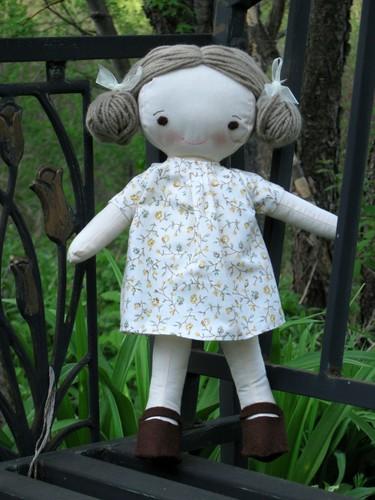 Clarissa on a garden bench by elizabeth's*whimsies