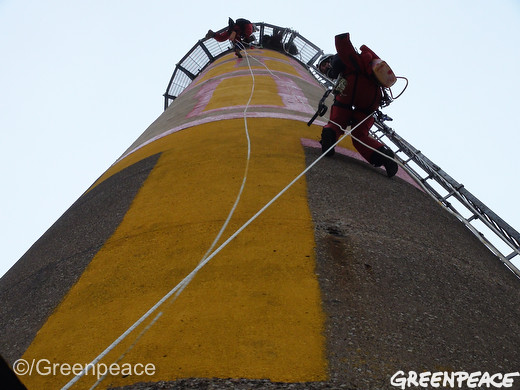 painting the coal smokestack