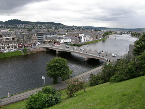 The bridge in Inverness with a pink limousine
