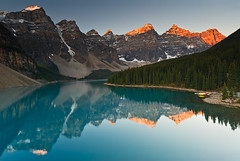 Moraine Lake Sunrise, Banff NP, Canada (.Anton) Tags: blue lake canada mountains reflection beautiful sunrise peaceful turquiose banff peaks breathtaking morainelake valleyofthetenpeaks banffnp 1000v40f