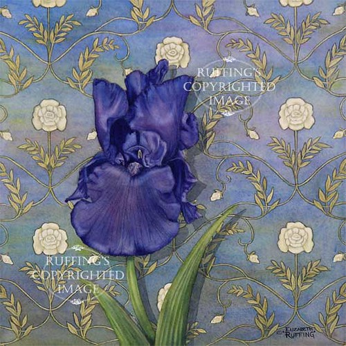 """Quiet Night"" ER13 by Elizabeth Ruffing Purple Iris"