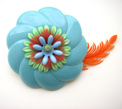 Blue and Orange Vintage Flowers Brooch