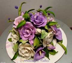 Ann & Harold's 50th Wedding Anniversary Cake Topper (mandotts) Tags: white gold purple ivory 50thanniversary lavendar goldenanniversary anniversarycake sugarpasteflowers