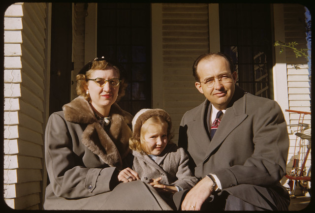 1951 Ekwall - Frances Irene Spencer Ekwall, Cathie Lee Ekwall, and Kenneth Lee Ekwall on Garfield