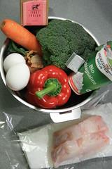 Ingredients pour un wok de lotte au curry