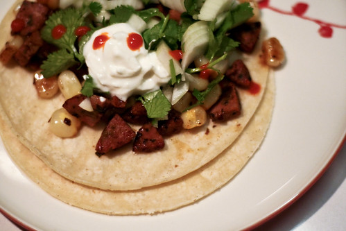 sausage & maize tacos