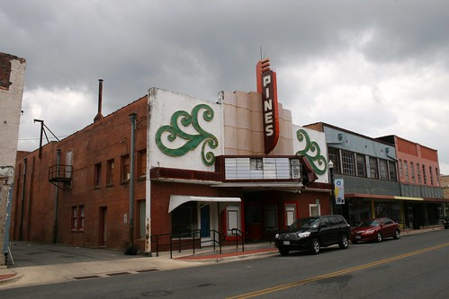 pines theater on cloudy day