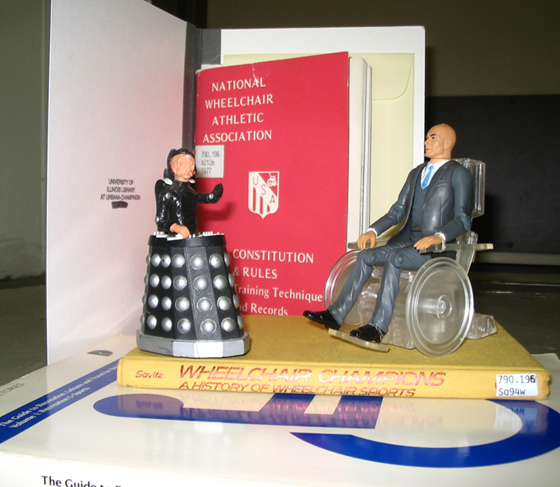 Davros and Professor X discuss the rules of their duel