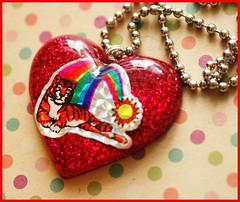Eye Of The Tiger (stOOpidgErL) Tags: red love glitter vintage diy necklace rainbow sticker heart handmade tiger rocky craft kitsch jewelry plastic 80s resin cheesy pendant stoopidgerl