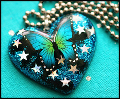 ~Midnight Sky~ (stOOpidgErL) Tags: blue black love glitter silver butterfly stars diy necklace heart handmade craft jewelry plastic monarch resin pendant stoopidgerl