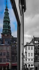 Copenhagen (harri.honkanen) Tags: copenhagen københavn kööpenhamina streets mirror windows window tower building black white denmark