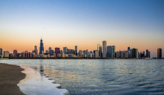 pursuit of dawn (almostsummersky) Tags: horizon skylinewalk adlerplanetarium sunrise winter water buildings lake diamondbuilding waves johnhancockcenter morning willistower urban frozen city plane daybreak skyscrapers architecture illinois chicago dawn skyline lakemichigan ice unitedstates us
