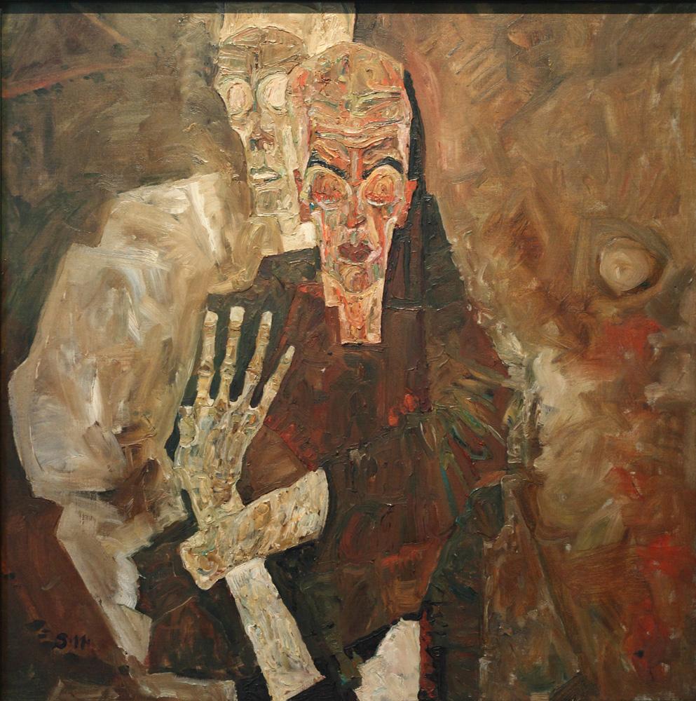 Egon Schiele, Selbstseher II (Tod und Mann) [Self-Seer II (Death and Man)], 1911