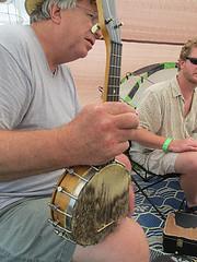 Banjo ukulele with a groundhog skin head (tackyjulie) Tags: music ukulele mandolin banjo northcarolina fiddle mountairy cajun mayberry oldtime ukes 2011