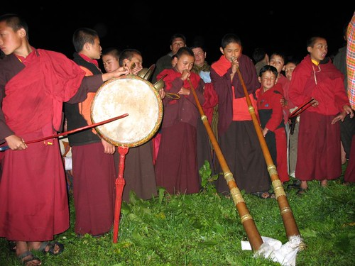 Monks with Dungchen (long Tibetan trumpets) & Tang Du (drum)