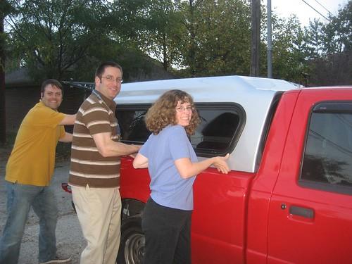 Douglas, Dan, Stephanie helping