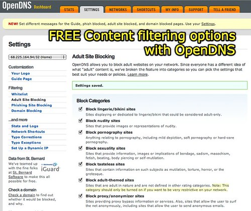 Content filtering options with OpenDNS