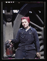 C. & N.W. R.R., Mrs. Marcella Hart, mother of three children, employed as a wiper at the roundhouse, Clinton, Iowa  (LOC) (The Library of Congress) Tags: railroad woman wheel clinton iowa 1940s overalls worker libraryofcongress employee 1943 wiper workingmother roundhouse kerchief clintoncounty jackdelano xmlns:dc=httppurlorgdcelements11 dc:identifier=httphdllocgovlocpnpfsac1a34801 chicagoandnorthwesternrailwaycompany marcellahart
