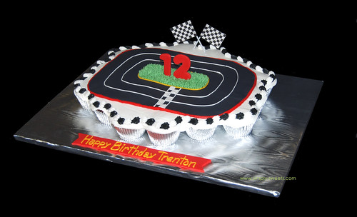race car 12th bday cupcake cake