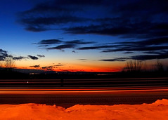Twilight Highway (Kirpernicus) Tags: longexposure blue trees winter red sky orange snow cold color colors beautiful night clouds truck twilight highway colorful vermont dusk reststop gradient layers dimension levels eyecandy layering i89 traffictrails mywinners wowiekazowie