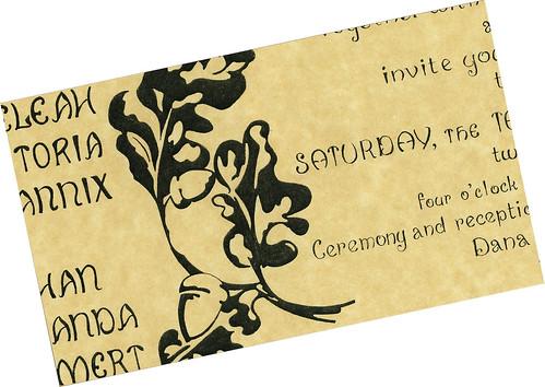 Art Nouveau Wedding Invitation--Handmade, Handmade Wedding Invitation, wedding cakes, flowers, invitation, photos, gowns, dresses