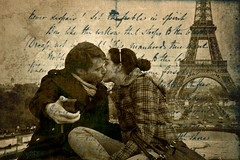 we will always have paris (DocTony Photography) Tags: camera travel paris france tower texture monument sepia handwriting canon kiss kissing tour phone eiffel valentine lovers explore valentines 5d frontpage handwritten valentinesday interestingness10 interestingness6 tourdeeiffel 24105l interestingness402 frontpageexplore doctony