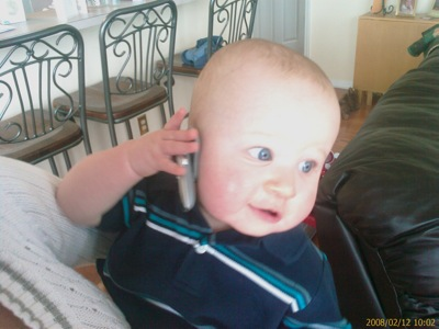 Ryland on his Bluetooth headset