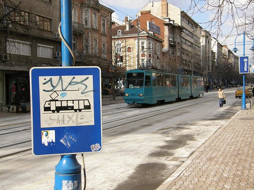 Sign and Tram