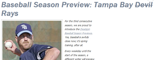 [TAMPA BAY RAYS PREVIEW] The Professor Lets His Hair Down At Deadspin.com