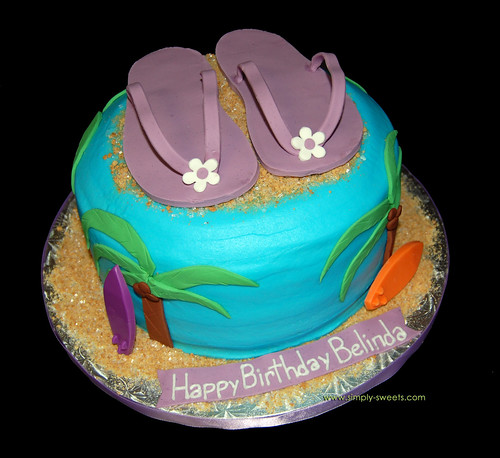 Purple flip flop Hawaiian birthday cake