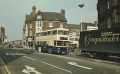Stafford Street, Wolverhampton, March 1982. (Lady Wulfrun) Tags: street light west bus beer buses bristol march 1982 pub post metro vrt top hill mb 23rd vr fleetline gec midlands stafford wolverhampton mcw weymann cammell pte 598 6334 vineinn bristolvr hoggshead wmpte bushbury jov4714 zd10517