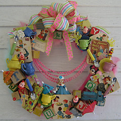 Peggy & Toms First Party (Treasured Heirlooms) Tags: pink blue green yellow vintage toys wreath teaset