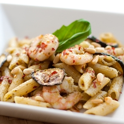 Spicy Penne with Roasted Courgettes, Prawns & Pesto