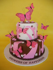 Playful Pink and Brown Butterfly Cake (CakesUniqueByAmy.com) Tags: birthday pink brown white cake shower whimsical buttterflies