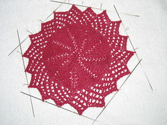 Knitted Lacy Round Dishcloth